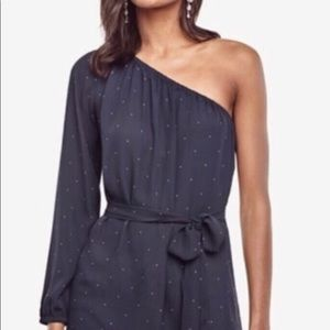 Ann Taylor Navy Blue One Shoulder Blouse NWT